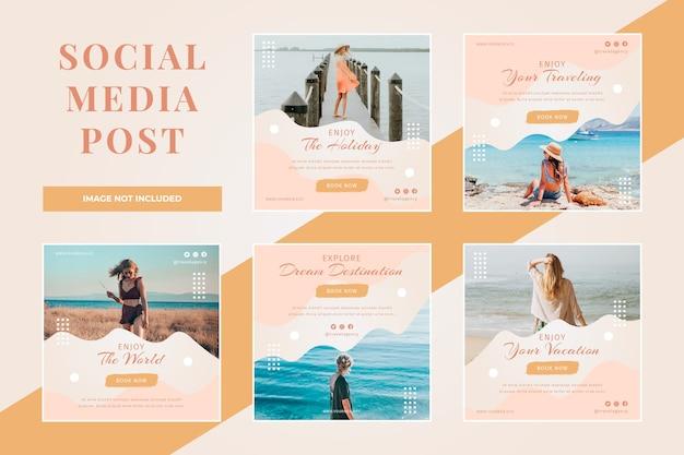 Ensemble de publications sur les réseaux sociaux de voyage