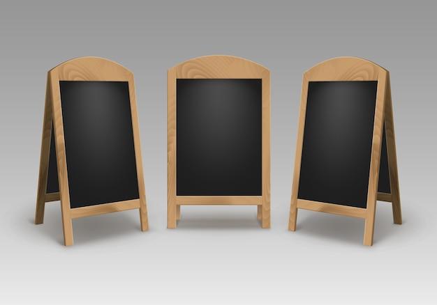 Ensemble de publicité vide vide en bois street sandwich stands trottoir panneaux de menu noir isolé sur fond