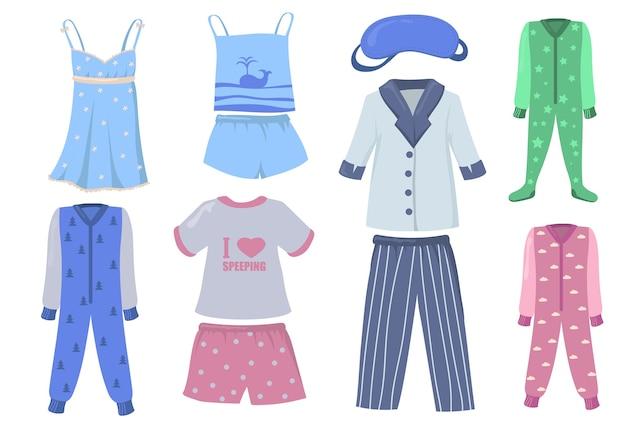 Ensemble pyjama pour enfants et adultes. chemises et pantalons ou shorts, vêtements de nuit, costumes de couchage isolés sur fond blanc. illustration vectorielle pour l'heure du coucher, dormir, concept de vêtements