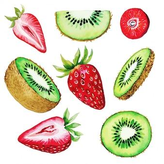 Ensemble de qiwi et fraise, demi et tranches