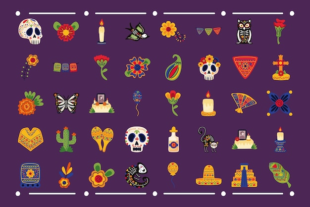 Ensemble de quarante icônes plates mexicaines définies