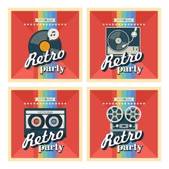 Ensemble de quatre affiches. illustration vectorielle. fête rétro.