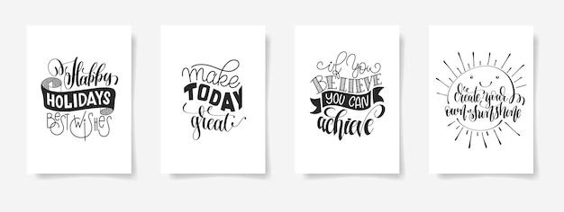 Ensemble de quatre affiches de lettrage à la main citation positive