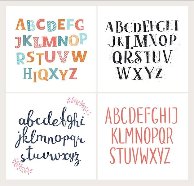 Ensemble de quatre alphabets anglais de différence