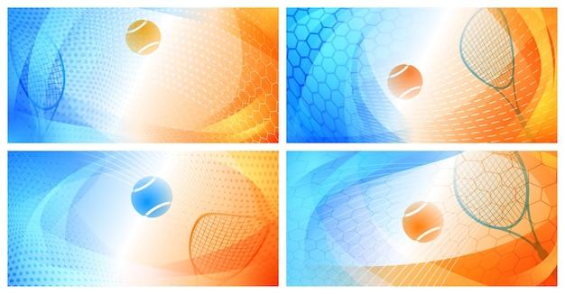 Ensemble de quatre arrière-plans abstraits avec balle et raquette aux couleurs du tournoi du grand chelem australian open tennis championships