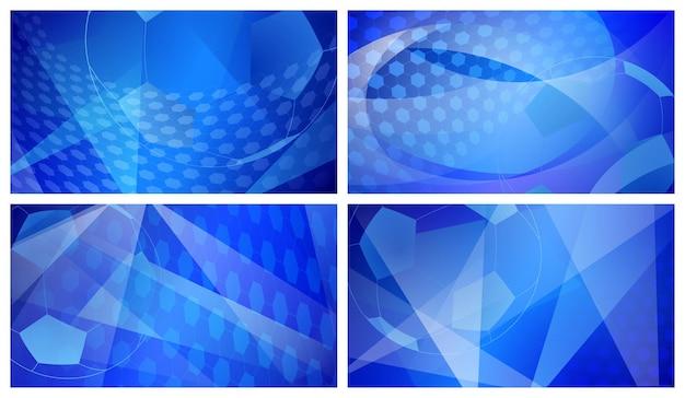 Ensemble de quatre arrière-plans abstraits de football ou de football avec une grosse balle aux couleurs bleues
