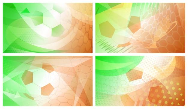 Ensemble de quatre arrière-plans abstraits de football ou de football avec une grosse balle aux couleurs nationales de l'irlande
