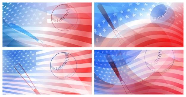 Ensemble de quatre arrière-plans avec batte de baseball, balle et drapeau national des états-unis aux couleurs rouge et bleu