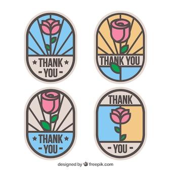 Ensemble de quatre autocollants de roses en style vitrail