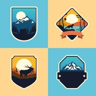 Ensemble de quatre badges d'aventure