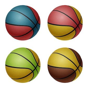 Ensemble de quatre ballons de basket blancs isolés
