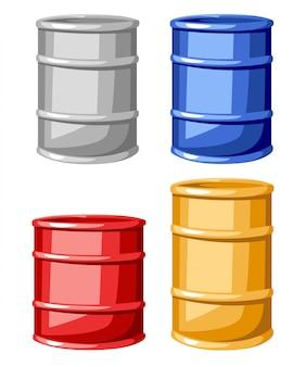 Ensemble de quatre barils couleur acier illustration sur fond blanc