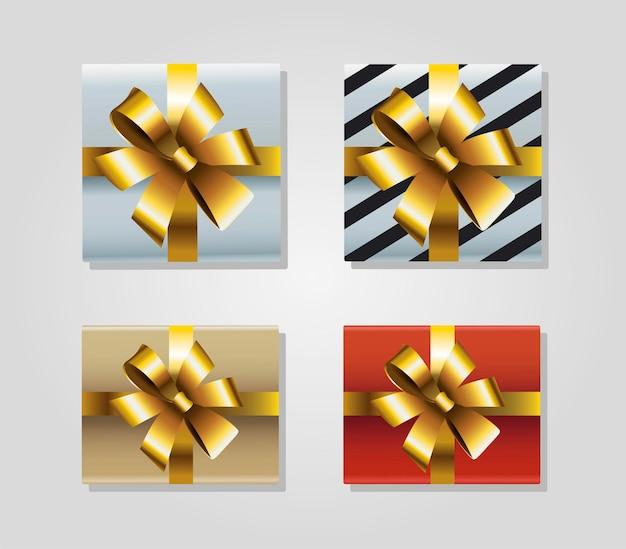 Ensemble de quatre cadeaux de noël joyeux avec illustration d'icônes arcs d'or