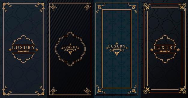 Ensemble de quatre cadres dorés de luxe avec style victorien sur fond noir