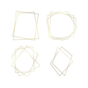 Ensemble de quatre cadres polygonaux géométriques dorés avec effets brillants isolés sur fond blanc. toile de fond art déco rougeoyante vide. illustration vectorielle.