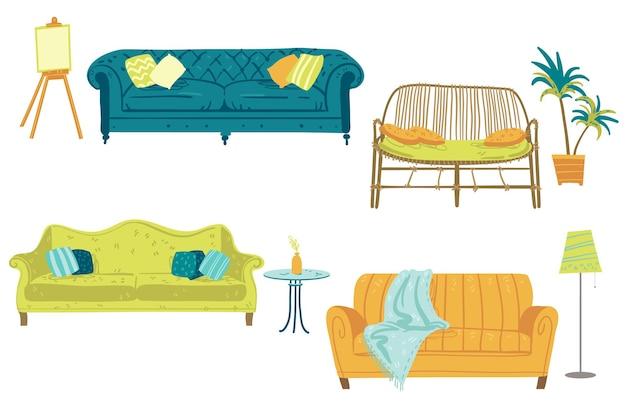 Ensemble de quatre canapés et éléments de décoration intérieure, meubles. illustration vectorielle