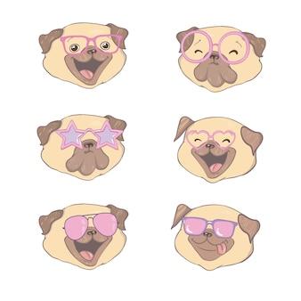 Ensemble de quatre carlins de dessin animé mignon portant des lunettes.