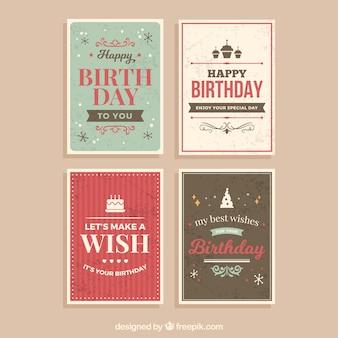 Ensemble de quatre cartes d'anniversaire vintage
