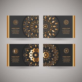Ensemble de quatre cartes or ornementales avec mandala oriental fleur