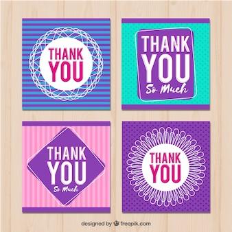 Ensemble de quatre cartes de remerciement