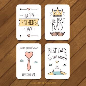 Ensemble de quatre cartes de voeux pour le père dans un design plat