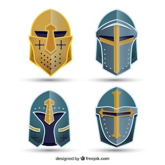 Ensemble de quatre casques en forme plate