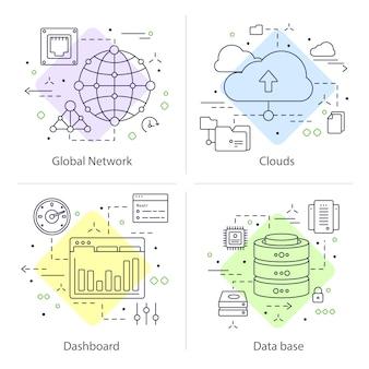 Ensemble de quatre centres de données