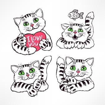 Ensemble de quatre chats souriants mignons. illustration dessinée à la main