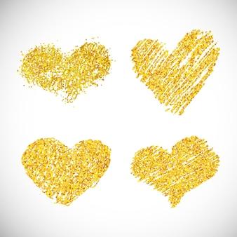 Ensemble de quatre coeurs de paillettes dorées dessinés à la main. symbole de l'amour. illustration vectorielle