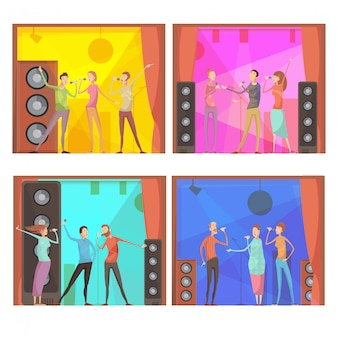 Ensemble de quatre compositions de fête karaoké à plat avec un groupe de personnages chantant des amis dans un club