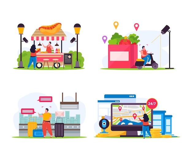 Ensemble de quatre compositions plates de surveillance vidéo de ville isolée avec divers emplacements urbains équipés