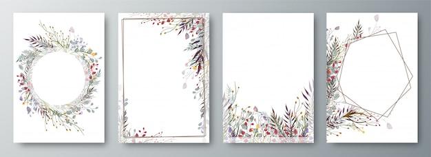 Ensemble de quatre conception d'invitation ou de carte de voeux décorée