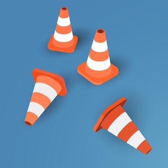 Ensemble de quatre cônes de signalisation sur fond bleu - vector illustration