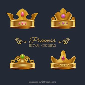 Ensemble de quatre couronnes d'or princesse