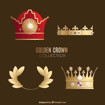 Ensemble de quatre couronnes d'or