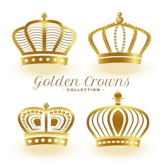Ensemble de quatre couronnes royales dorées de luxe