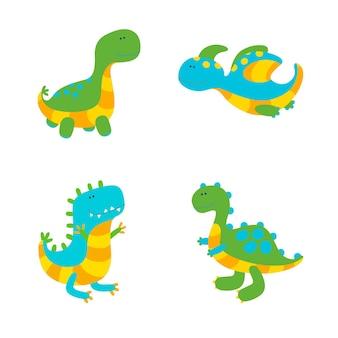 Ensemble de quatre dinosaures colorés sur fond blanc. illustration vectorielle dans un style plat mignon