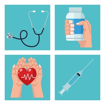 Ensemble de quatre éléments médicaux