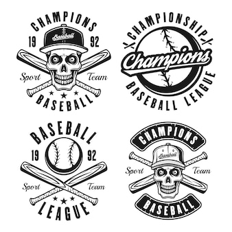 Ensemble de quatre emblèmes, badges, étiquettes ou t-shirts noirs vectoriels de baseball dans un style vintage isolé sur fond blanc
