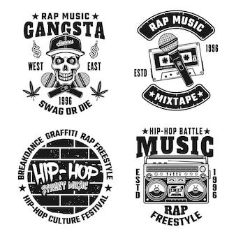 Ensemble de quatre emblèmes, étiquettes, badges ou logos monochromes vectoriels rap et hip-hop isolés sur fond blanc