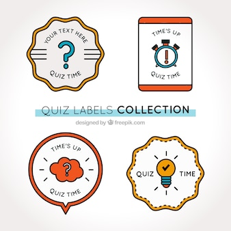Ensemble de quatre étiquettes de quiz avec des formes géométriques