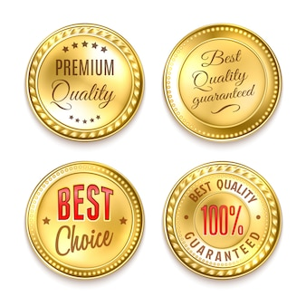Ensemble de quatre étiquettes rondes dorées