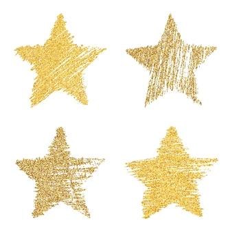 Ensemble de quatre étoiles dessinées à la main avec effet de paillettes d'or. forme d'étoile rugueuse dans un style doodle avec effet de paillettes d'or sur fond blanc. illustration vectorielle