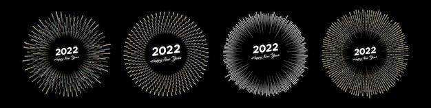 Ensemble de quatre feux d'artifice avec inscription 2022 et bonne année. rayons de ligne isolés sur fond noir. illustration vectorielle