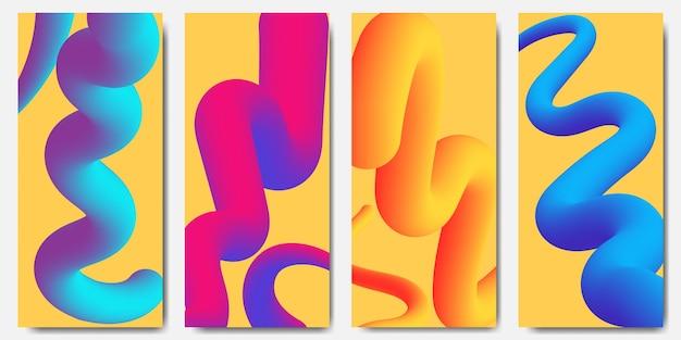 Ensemble de quatre fonds d'écran mobiles abstraits avec des vers de vagues design