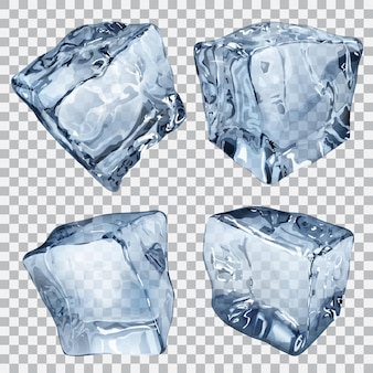 Ensemble de quatre glaçons transparents aux couleurs bleues