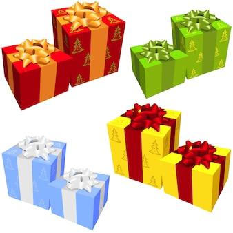 Ensemble de quatre groupes de cadeaux de noël de différentes couleurs isolé sur fond blanc
