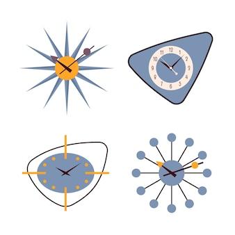 Ensemble de quatre horloges murales rétro