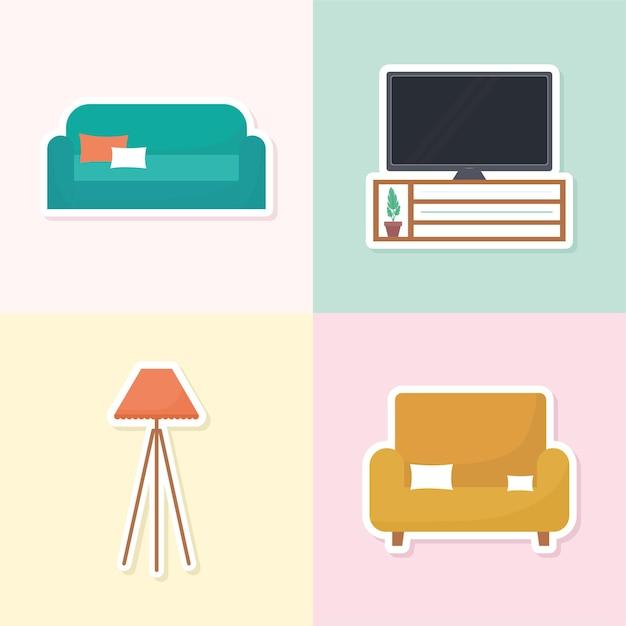 Ensemble de quatre icônes de décoration intérieure