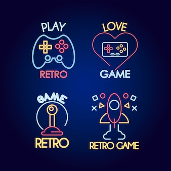 Ensemble de quatre icônes de style néon de jeu vidéo et illustration de lettrages